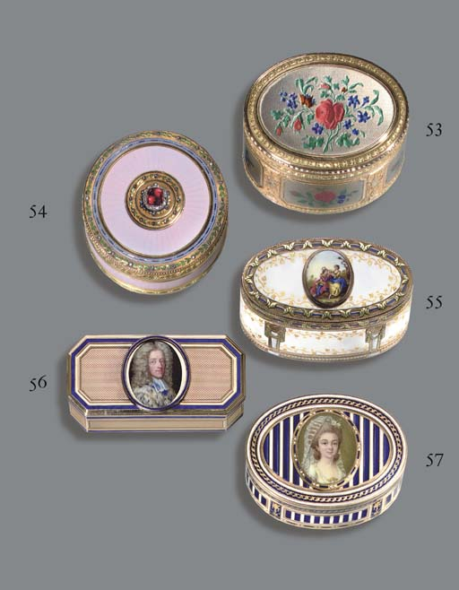 A LOUIS XVI ENAMELLED GOLD SNUFF-BOX SET WITH A MINIATURE