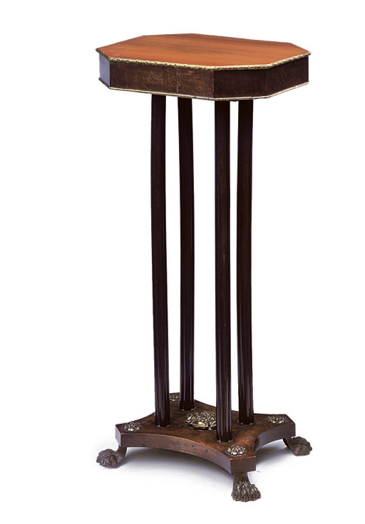 A REGENCY ORMOLU-MOUNTED ROSEWOOD AND MAHOGANY OCCASIONAL TABLE