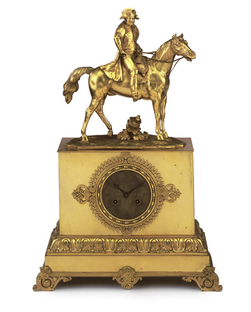 A Charles X ormolu equestrian mantel clock