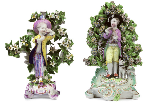 A BOW CANDLESTICK FIGURE AND A DERBY FIGURE OF A SHEPHERD