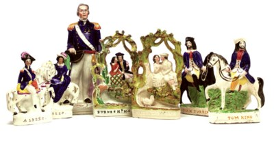 A GROUP OF STAFFORDSHIRE FIGUR