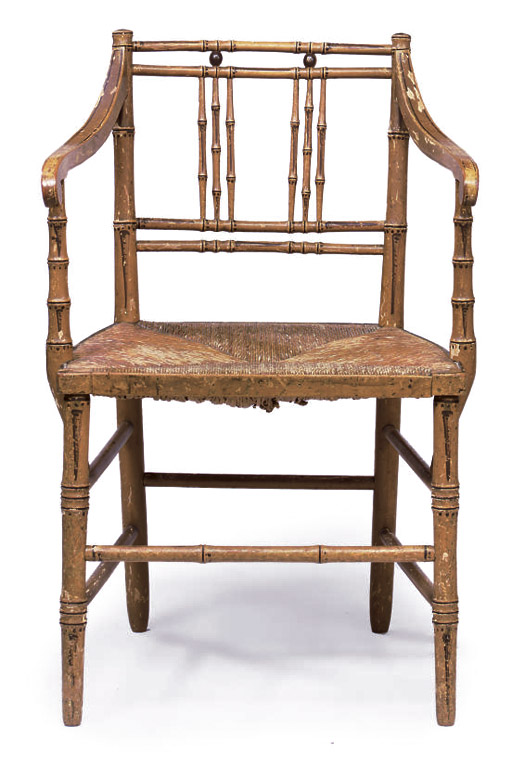 A REGENCY OCHRE-PAINTED SIMULATED-BAMBOO OPEN ARMCHAIR