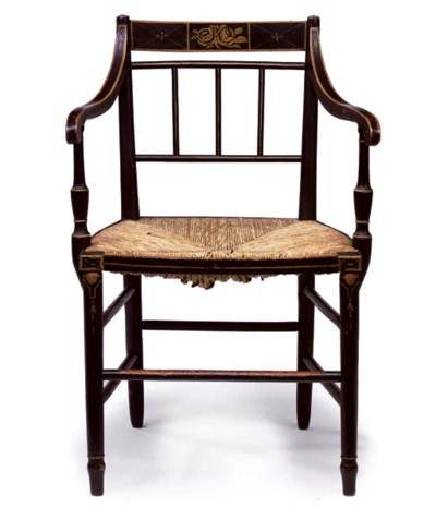 A REGENCY EBONISED AND GILT-DE