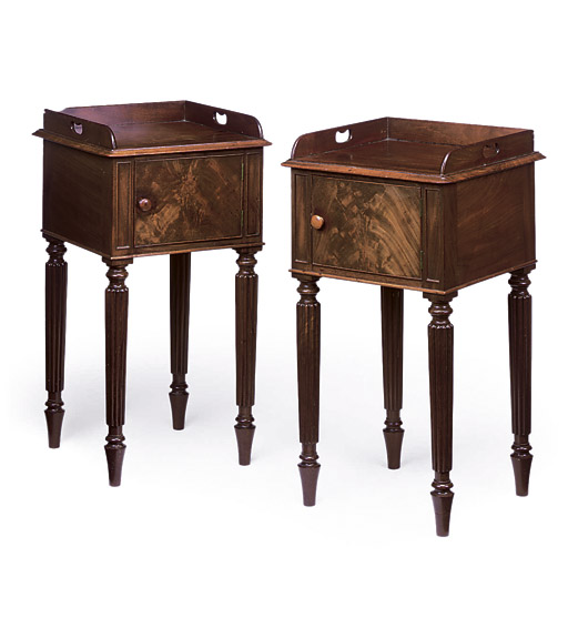 A PAIR OF SCOTTISH GEORGE IV MAHOGANY BEDSIDE CUPBOARDS