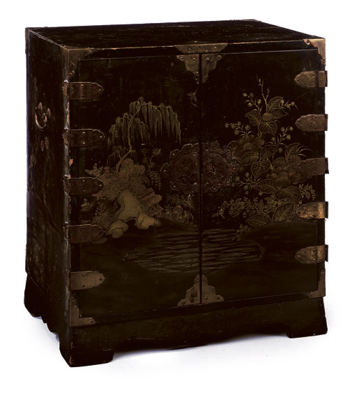 A JAPANESE BLACK AND GOLD LACQUER TABLE CABINET