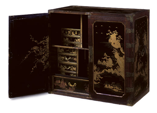 A CHINESE EXPORT BRASS-MOUNTED BLACK AND GOLD LACQUER CABINET