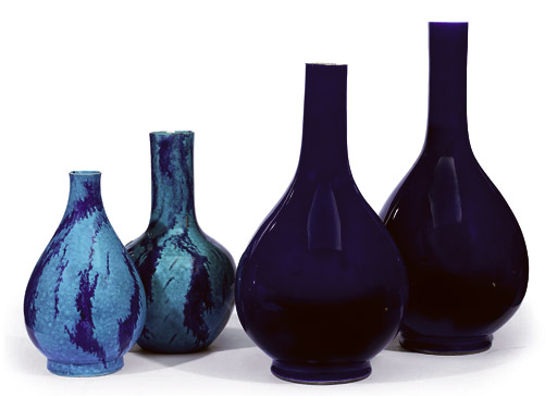 A PAIR OF LARGE CHINESE BLUE GLAZED BOTTLE VASES AND TWO BLUE AND AUBERGINE GLAZED VASES