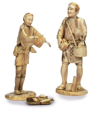 TWO SECTIONAL IVORY FIGURES
