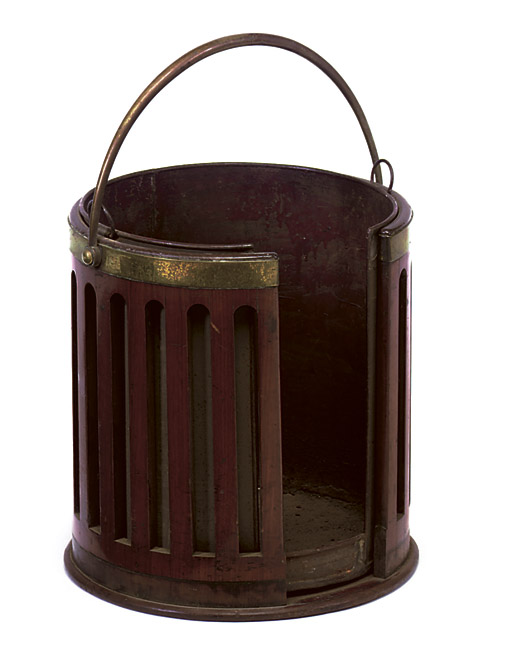 A GEORGE III MAHOGANY AND BRASS-BOUND PLATE-BUCKET