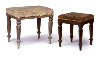 TWO REGENCY OAK STOOLS