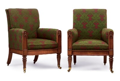A PAIR OF GEORGE IV OAK EASY A