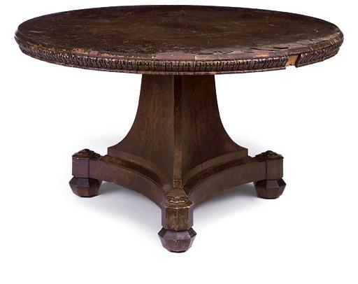 A REGENCY BURR-OAK AND BROWN OAK BREAKFAST TABLE