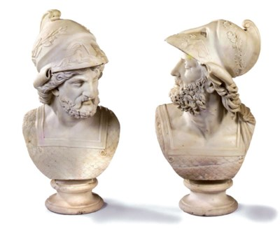 A PAIR OF ITALIAN SCULPTED WHI