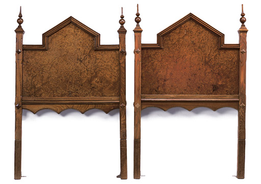 THE SCONE PALACE 'MARY QUEEN OF SCOTS' BURR-OAK, ASH AND WALNUT HEADBOARDS