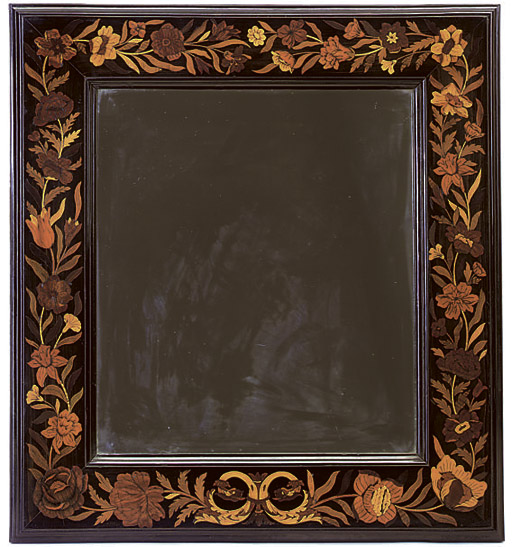 A DUTCH MARQUETRY AND ROSEWOOD MIRROR