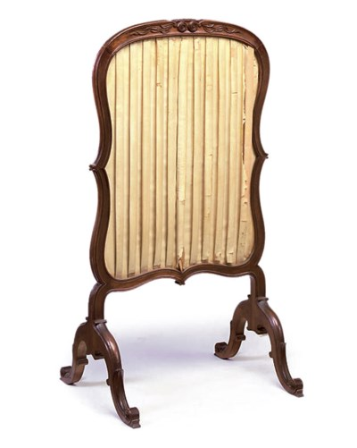 A FRENCH WALNUT FIRESCREEN