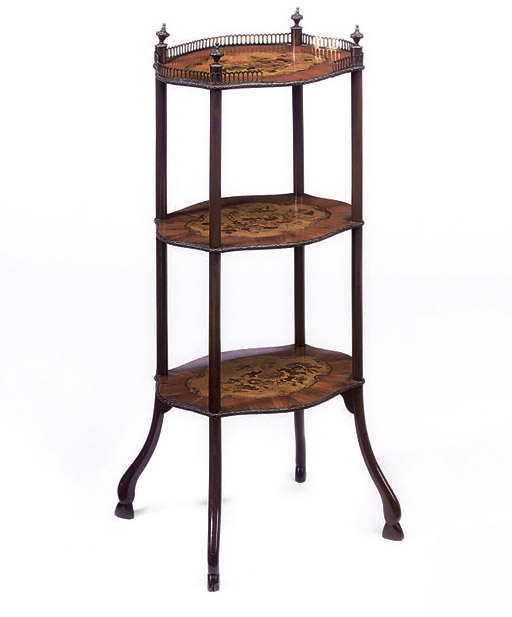 A FRENCH KINGWOOD, TULIPWOOD AND MARQUETRY ORMOLU-MOUNTED THREE-TIER ETAGERE
