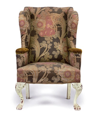 A LATE VICTORIAN WING ARMCHAIR