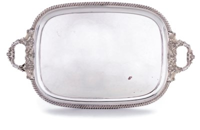 A VICTORIAN SILVER-PLATED TRAY