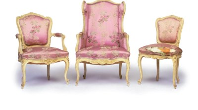 A LOUIS XV STYLE WHITE-PAINTED