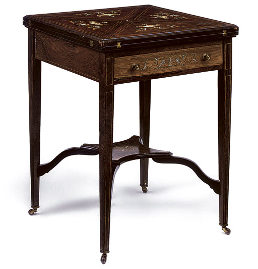 A LATE VICTORIAN IVORY AND MARQUETRY INLAID ROSEWOOD ENVELOPE CARD TABLE