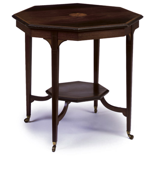 A LATE VICTORIAN INLAID ROSEWOOD OCTAGONAL CENTRE TABLE