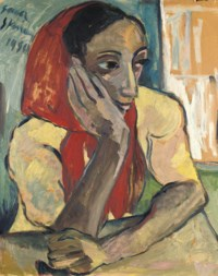 Portrait of a woman, seated, wearing red head-scarf