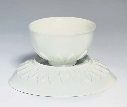 A MEISSEN WHITE TEABOWL AND SA