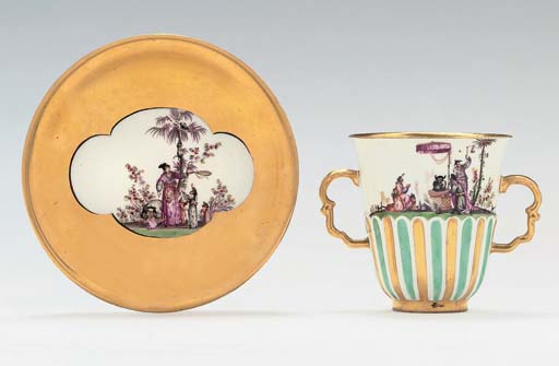A MEISSEN TWO-HANDLED CHINOISE