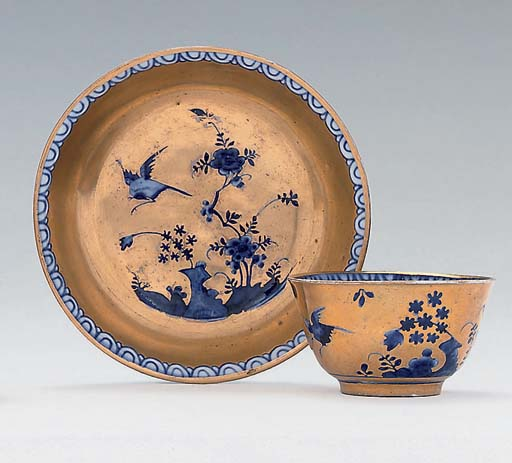 A MEISSEN BLUE AND WHITE GOLD-