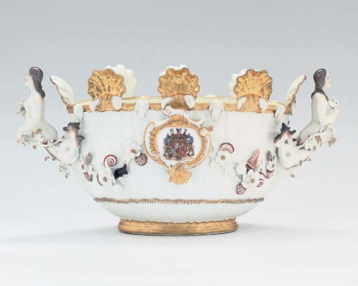 A MEISSEN OVAL TWO-HANDLED MON