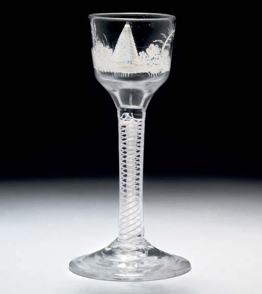 A BEILBY OPAQUE-TWIST WINE-GLA