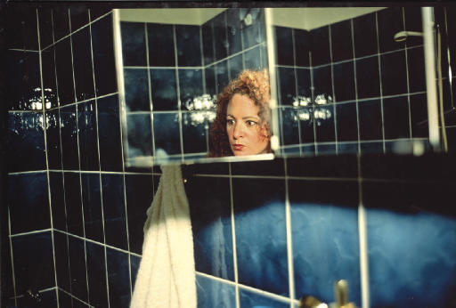 Self portrait in my blue bathroom, Berlin