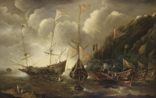 A Mediterranean capriccio of a sea fight between European merchantmen and Ottoman galeasses