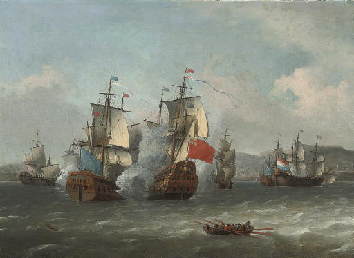 The battle of Leghorn, 4th March 1653, during the first Anglo-Dutch War of 1652-54
