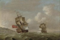 An English warship pursuing a Frenchman up the coast