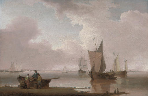 Small traders in a calm on an estuary, with fisherfolk in the foreground