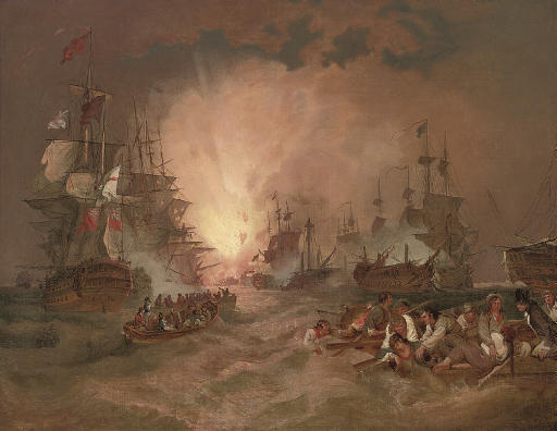The battle of the Nile, 1st August 1798:  The destruction of the French flagship L'Orient