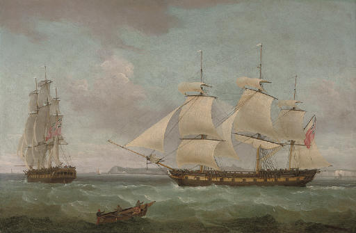 An East Indiaman in two positions off Dover, with the pilot cutter approaching off her starboard bow