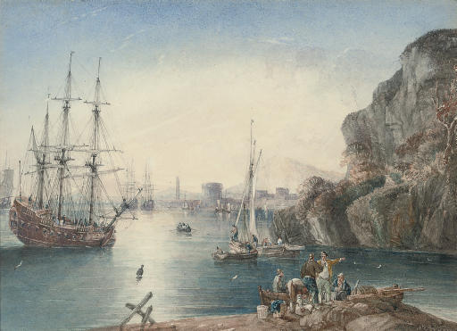 Warships anchored off the Italian port of Leghorn, with fishermen unloading their catch in the foreground