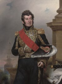 Portrait of Comte Laurent-Jean-François Truguet, Admiral of France, three-quarter-length, wearing the sash and breast star of the Legion d'Honneur, standing before a pillar, a ship at anchor beyond and a baton by his side
