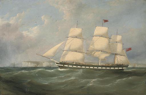 An outward-bound merchantman heading down the Channel