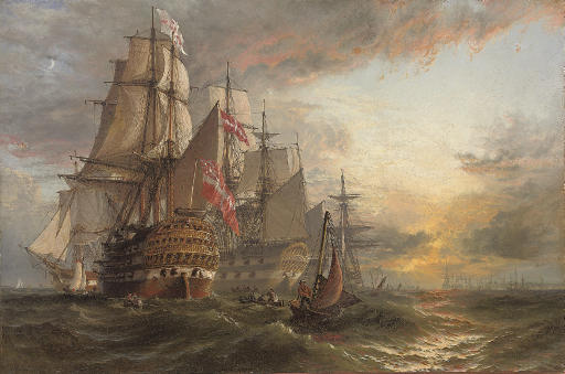 A Squadron of Danish warships moored off the entrance to Portsmouth harbour, with the masts of shipping in the harbour in the distance