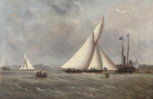 A big cutter approaching the turning mark with the crowded club steamer beyond