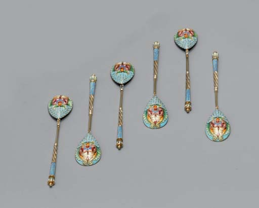 A set of six silver-gilt and cloisonné enamel coffee-spoons