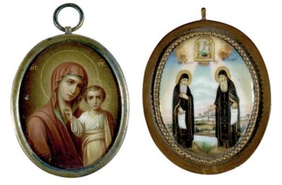 TWO MINIATURE TRAVELLING ICONS