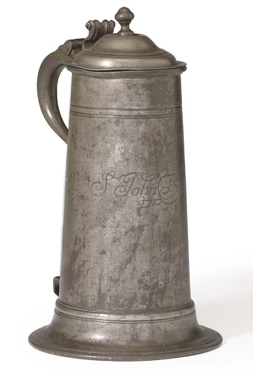 A GEORGE I PEWTER SPIRE FLAGON