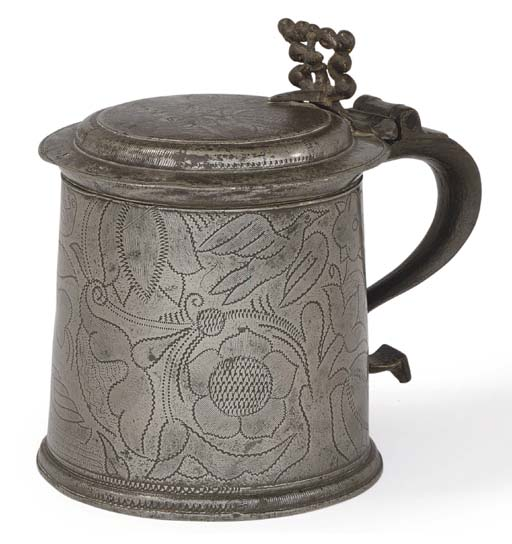 AN ENGLISH WRIGGLEWORK PEWTER