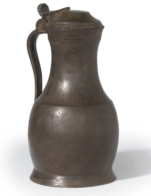 A FLEMISH PEWTER PEAR-SHAPED F