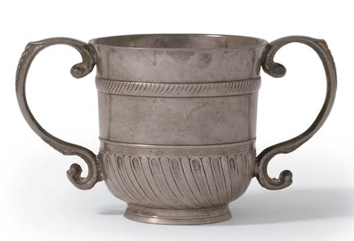 AN ENGLISH TWO-HANDLED PEWTER
